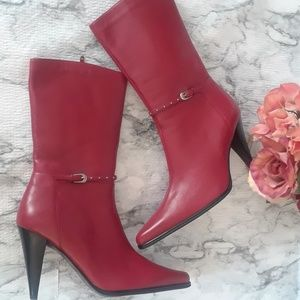 NWOB Pazzo red leather calf high boots sz. 7